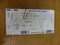 01/11/2003 Ticket: Rugby Union, Rotherham v Saracens. Thanks for viewing our ite
