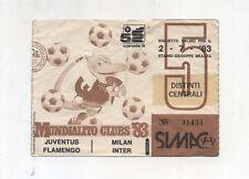 Biglietto Ticket MUNDIALITO CLUBS 83 Juventus Inter Milan 1983 Five Pupazzo