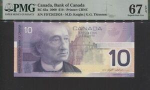 TT PK BC-63a 2000 CANADA BANK OF CANADA 10 DOLLARS PMG 67 EPQ SUPERB GEM UNC!