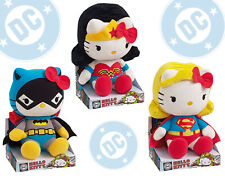 "Hello Kitty x DC Comics 3x Wonder Woman Batgirl & Supergirl Set 10.5"" plush doll"