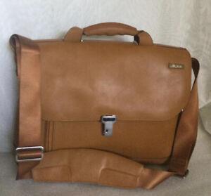 Large TUMI Tan Leather Business/Briefcase/Tote/Messenger/Shoulder Bag