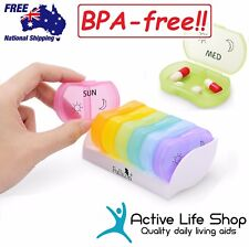 Pill Organiser 7-day Pill Box Dispenser 2 Compartment Travel PREMIUM BPA-FREE