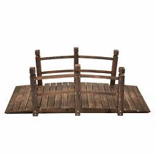 Solid Wooden Garden Bridge Outdoor Lawn Pond Decor Bridge 200Lbs Weight Capacity