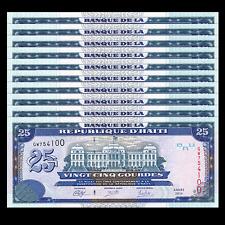 Lot 10 PCS, Haiti 25 Gourdes, 2014, P-266 New, UNC, 1/10 Bundle, Banknotes