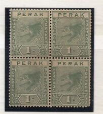 Perak 1892 Tiger Issue Fine Mint Unused No Gum Block of 4 1c. 117677