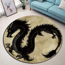 Non-slip Door Round Mat Black Dragon Home Area Rugs Room Floor Yoga Soft Carpet