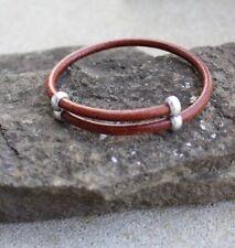 Brown Leather Bracelet Adjustable Surfer Wristband Antique Silver  USA
