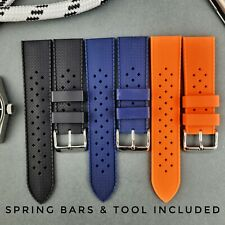 Tropical Silicone Rubber Watch Strap Band in 18mm 20mm 22mm Black Blue Orange