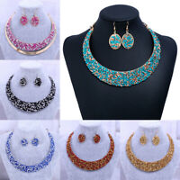 Fashion Women Pendant Crystal Rhinestone Choker Chunky Statement Chain Necklace