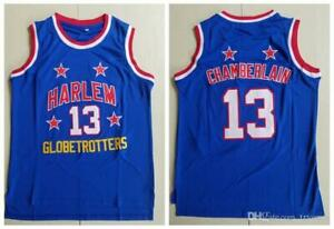 Mens #13 Wilt Chamberlain Harlem Globetrotters Basketball Jerseys Blue Stitched