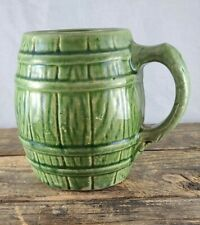 Antique Nelson McCoy Green Wash Glaze Barrel Mug Shield 4 Mark