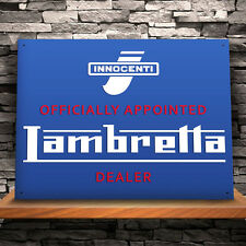 Large Lambretta 'Official Dealer'' Tin Plate Metal Wall Sign - Scooter/Garage