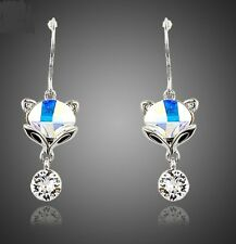 Platinum Plated Colorful Crystal Fox Beauty W/Cubic Zirconia Earrings (E838-45)