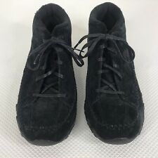 Skechers Womens Black Suede Bikers Totem Pole Relaxed Fit Comfort Shoes Size 9