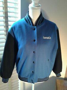 AMERICAN GIRL Varsity Bomber Jacket Blue Black Wool Blend Size L   P10606
