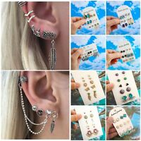 7Pcs/set Retro Women Boho Ear Stud Clip Earrings Bohemian Silver Tone Jewelry