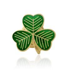 Gold Plated Green Enamel Shamrock Leaf Lucky Irish Pin Badge St Patrick's Day