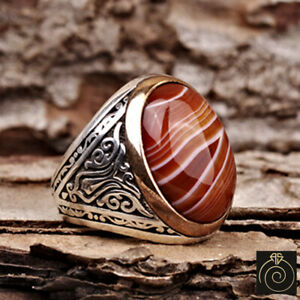 Aqeeq Men Statement Ring Natural Agate Stone Vintage Protect Jewelry Dad Gift