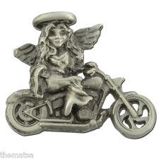 Biker Motorcycle Angel Pewter Lapel Pin Made In Usa