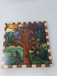 """Sincerely Sticks Grow """"Grow Your Own Way"""" Tree Nature 9x9 Wooden Wall Plaque"""