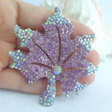 Bouquet Brooch Purple Rhinestone Maple Leaf Brooch Pin Costume Jewelry Ee03976C5