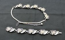 Vintage Signed TRIFARI Crown Silvertone Rhinestones Set Necklace Bracelet