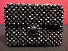 Black Wood Bead Vintage Japanese Handbag Clutch Great Condition