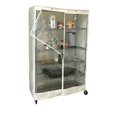 """Storage Shelving unit cover fits 48""""Wx18""""Dx72""""H - Off White/Clear (Cover Only)"""