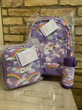 Pottery barn kids Summer Lavender Unicorn Large BackpacK Lunchbox Water Bottle