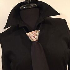 "Men's Black Ballroom Competition 20"" Zipper Tie Swarovski Crystals ABs"