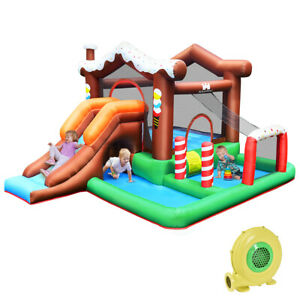 Inflatable Kids Jumping Castle Bouncy House Outdoor Trampoline Playhouse w/Slide