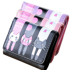 Womens Girls Cat Pattern Coin Purse Clutch Leather Short Wallet Card Holders. A+