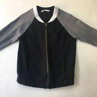 Seed Heritage Full Zip Bomber Jacket Pockets Grey Black Cotton Stretch Sz 10