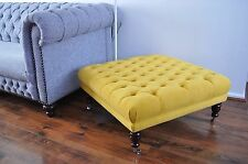 👍🏼Gorgeous! NEW LARGE 1M X 1M X 40CM  BUTTONED FOOTSTOOL STOOL YELLOW FABRIC