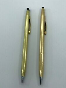 CROSS BALL POINT PENS SET 14K GOLD PLATED MADE IN IRELAND
