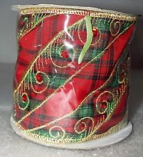 Katherine's Collection Plaid Gold Swirl Christmas Ribbon Tartan 08-782410 New