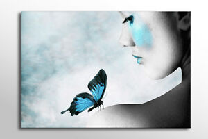 LARGE BEAUTIFUL BLUE BUTTERFLY GIRL CANVAS WALL ART STUNNING PICTURE NEW PRINT
