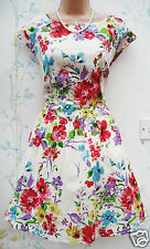 F&F Talla 10 Floral Vestido De Té Verano Algodón vibrante años 50 👗 Estilo Retro US 6 EU 3