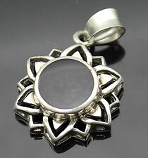 Flower / Sun Sterling Silver Pendant Gorgeous Vintage Black Onyx Inlay Cut Thru