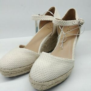 A New Day Olivia Cream Wedge Rope Ankle Strap Women's Size 10 Espadrille Round