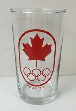 Vintage Glass Canadian Olympic Association 1975 Red Maple Leaf Canada Rare