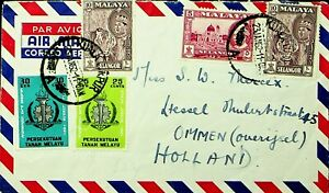 MALAYA SELNAGOR 1962 TIGER 5v ON AIRMAIL COVER TO HOLLAND