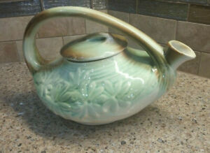 Vintage McCoy Pottery Teapot & Lid Art Deco DAISY Pattern Green/Brown 1940's