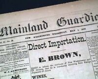Rare 1878 NEW WESTMINSTER British Columbia CANADA Old Newspaper w/ Many ADS