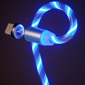 1m Magnetic charging Mobile Phone Cable USB Type C Flow Luminous Lighting Data