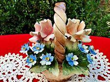 ANTIQUE Italy CAPODIMONTE Flowers Centerpiece Basket Porcelain Bouquet Estate