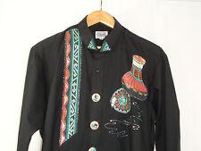 Embellished Southwestern Black Tuxedo Shirt Broadway Tuxmakers Sz L 32-33 NWT