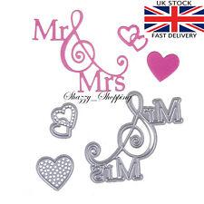 Mr Mrs Hearts wedding Die Set metal cutting die cutter UK Seller Fast Post