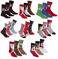 Adults 3 Pack of Christmas Socks Ladies Men Xmas Fun Cute Santa Snowman Reindeer