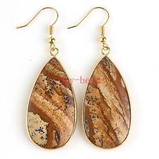 18K Gold Natural Picture Jasper Stone Drop Dangle Hook Women Ear Earring Jewelry